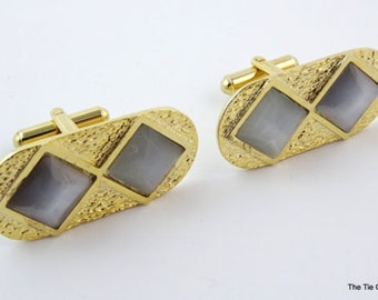 Large Big Vintage Cufflinks Gold Tone Oval Diamond Shaped Inserts