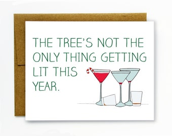 Funny Christmas Card - Holiday Drinking - Getting Lit