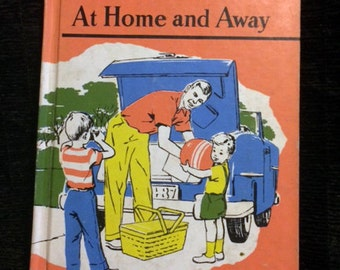 Kids Books, Vintage Learn to Read, Children's Book, 50s Textbook, At Home and Away Early Reader, Kids Reading Retro Art Illustrated Primer