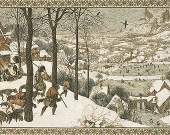"Pieter Bruegel Wall Tapestry Hanging Hunters in Snow - 26""x44"" Tapestry Wall Hanging - WT-171"
