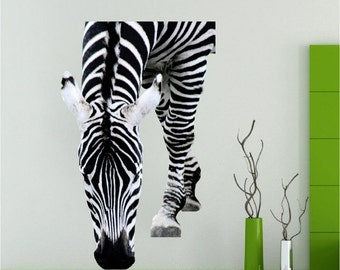 ZEBRA Wall Decal Zebra Sticker Zebra Wall Mural Zebra - Zebra stripe wall decals