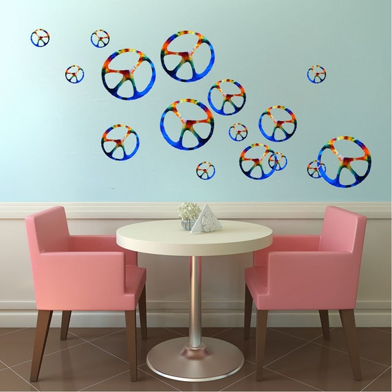 peace sign decals hippie wall decals peace murals by zebra print peace signs wall stickers 26 funky mod decals