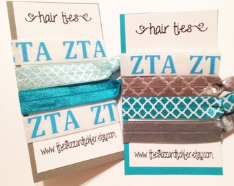 ZTA sorority Elastic Hair Ties -set of 2- ~Stocking Stuffer Ideas ~Perfect gift for UA college students, tailgaiting accessories