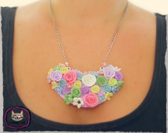 Handmade Polymer Clay Flower Pendant/ Necklace