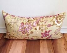 Plum Purple Paisley Lumbar Pillow Cover-Williamsburg Grand Palampore Prune with Diamond Pattern- 100% Linen 12 x 24 Decorative Pillow Cover