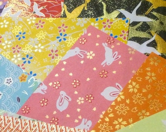 14 Sheets Yuzen Chiyogami - Traditional Folk Art Japanese Origami Paper