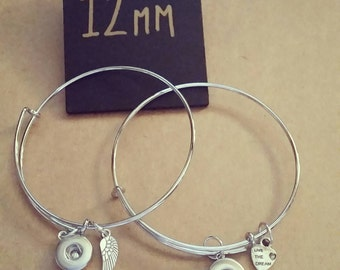12mm Snap Dangle Bangles. Heart or Wing. Interchangeable Snap Jewellery