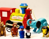 Fisher Price Play Circus Train - Retro Toys - Vintage Baby Gift - Toy Trains - Circus Animals