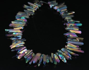 15.5 inches of strand Rough Rainbow Mystic Titanium Quartz Crystal Raw Points Beads Bulk,Top Drilled Gemstone Pendants Necklace Jewelry