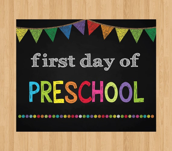 It's just a graphic of Magic First Day of Preschool Printable Sign
