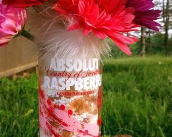 Absolut Raspberry Vodka flower vase.   1 Liter bottle.