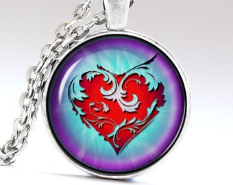 Heart Pendant Heart Necklace Heart Amulet Heart Jewelry Red Heart  Beautiful gift LG066
