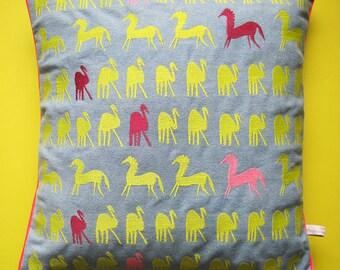 Embroidered Denim Cushion - 'Uncia' horse and bird design 40 x 40 cm cushion cover