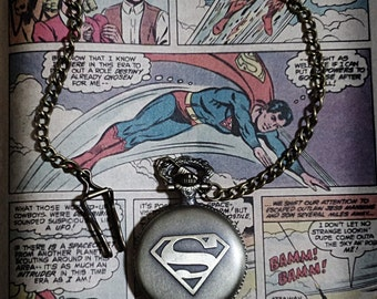 Superman Pocket Watch with DC comic book Vintage Inspired bronze plated decoration for men's waistcoat