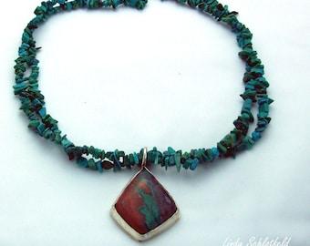 Sonoran Sunrise Chrysocolla and Turquoise Gemstone Necklace