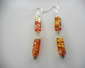Orange Multicolor Dangle Earrings