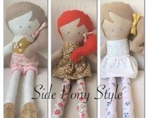 Personalized handmade doll, custom fabric doll, rag doll handmade to match your child, custom rag doll low side pony