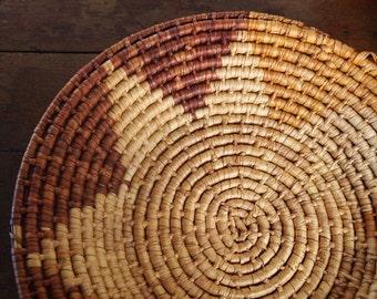 Vintage Thick Woven Circular Basket / Wall Hanging