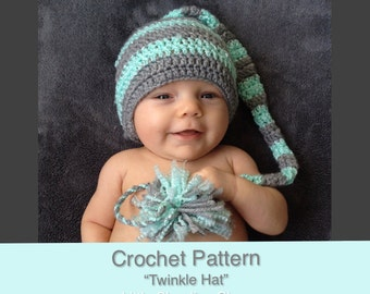 CROCHET PATTERN, Newborn Prop, Elf Hat Crochet Pattern, Long-Tailed Hat, Newborn Photography Ideas, Crochet Tutorial Newborn Hat