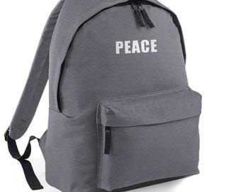 Peace Backpack Back to School Street Bag Ruck Sack