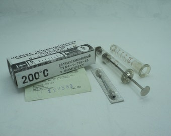 Soviet hypodermic syringe, Medical USSR glass syringe 5 ml with additional glass tube in box