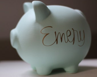 """Large Mint Seafoam Green and Gold Monogram Personalized Piggy Bank in """"Emery"""" font"""