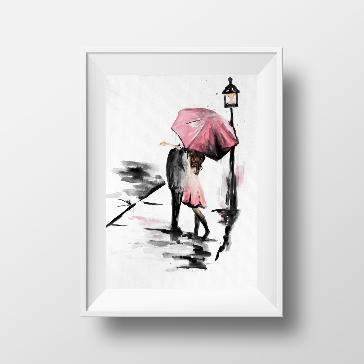 Couple With Umbrella Romance Painting Kissing In The Rain