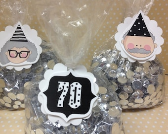 40th, 50th, 60th, 70th Birthday Party Candy or Favor Bags with Tags - Set of 10