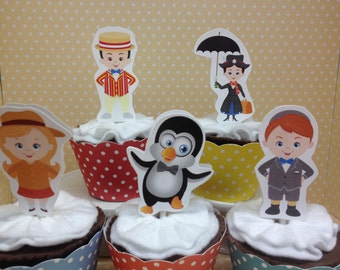 Mary Poppins Party Cupcake Topper Decorations - Set of 10