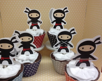 Ninja Party Cupcake Toppers - Set of 10