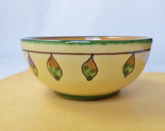 Vintage Redware Art Pottery Bowl, Arts and Crafts Style, Autumn Color Combination, 3 In.Collectible Redware, Unique Design, Jewelry Bowl