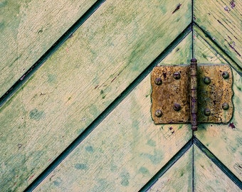 Architectural Detail Photography, Door Photography, Closeup weathered wood, rusty hinge, decor, Fine Art Photography - Faded Green Door