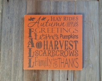 Rustic Fall Autumn Wooden Sign