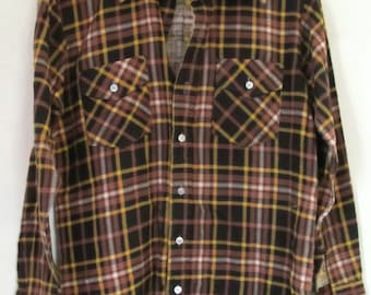 Marked Down 30%@@A Men's,GREAT Vintage 70's,Dark Brown Plaid FLANNEL Shirt By Craig Noble International.M