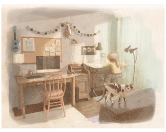 Workspace and cat friend | Art print giclee | Illustration