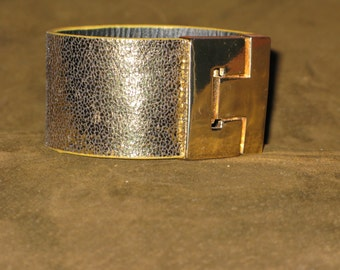 Fun Disco Era Gold Cuff Vegan Leather Magnetic Clasp