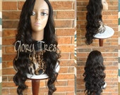CLEARANCE / /Long Body Wave Half Wig,  Black Wig with Auburn Highlights, Loose Wave Wig // LILY