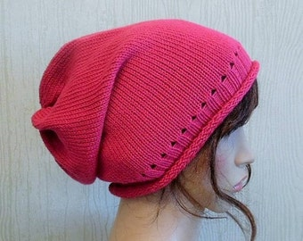 Knitted womens hat, hot pink knit hat, women slouch hat, handmade slouchy beanie hat, women knit slouch beanie hat, CHOOSE COLOURS