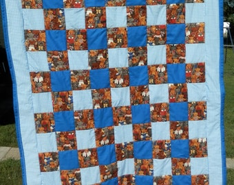 "Adorable Baby Quilt Blue/Gingham/Teddy Bears 38""x52"" FREE SHIPPING"