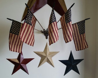 Three cheers For The Red, White And Blue Handpainted Tin Stars!
