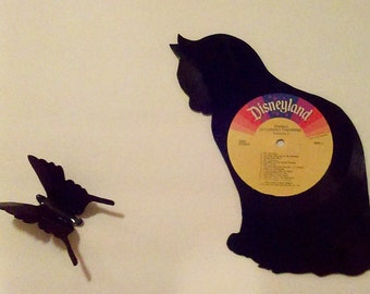 Vinyl record cat silhouette with butterfly! One of a kind handcut wall art