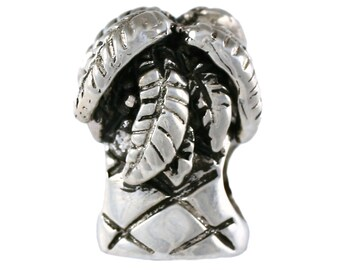 Island Palm Tree Large Hole Sterling Silver Bead - Compatible with ALL Popular Bracelet Brands - Made ENTIRELY in the USA! - Item 13274