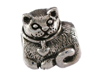 Curled-Up Kitty Cat Large Hole Sterling Silver Bead - Compatible with ALL Popular Bracelet Brands - Made in the USA! - Item #16999