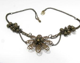 Vintage Brass Cluster Necklace