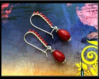 Dangle Drop Earrings,Kidney Hook Earrings,Hanging Earrings,Handmade Earrings,Wire wrapped Earrings,Hook Earrings,Red Long Earrings,Earrings
