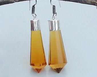 Citrine Quartz Gemstone 925 silver Dangle Earrings Jewelry, Statment Earrings,  Gift Idea , Birthstone Earrings