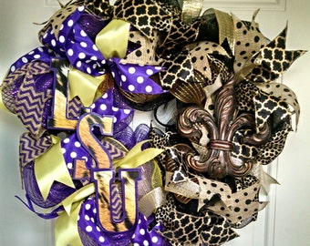 LSU Tigers and New Orleans Saints wreath ~ LSU Saints wreath ~ deco mesh wreath ~ Louisiana teams wreath