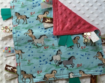 Personalized Tag Minky Sensory Ribbon Blanket Lovey- Horse Meadow on Minky