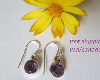 Silver amethyst earrings; 92.5 sterling silver