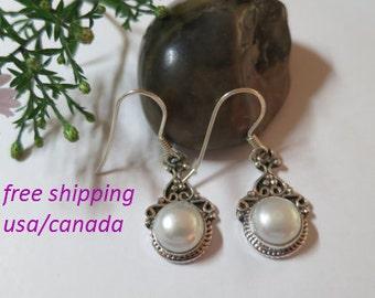 Silver pearl earrings, 92.5 sterling silver